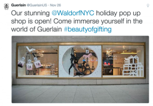 Tweet di Guerlain per il loro pop up store al Waldorf Hotel di NYC