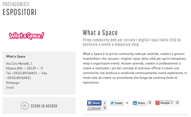 SMAU What a Space page
