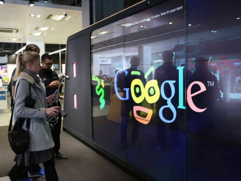 Digital spray paint corner in the London Google Storefront - Photo credit by abcnews.com