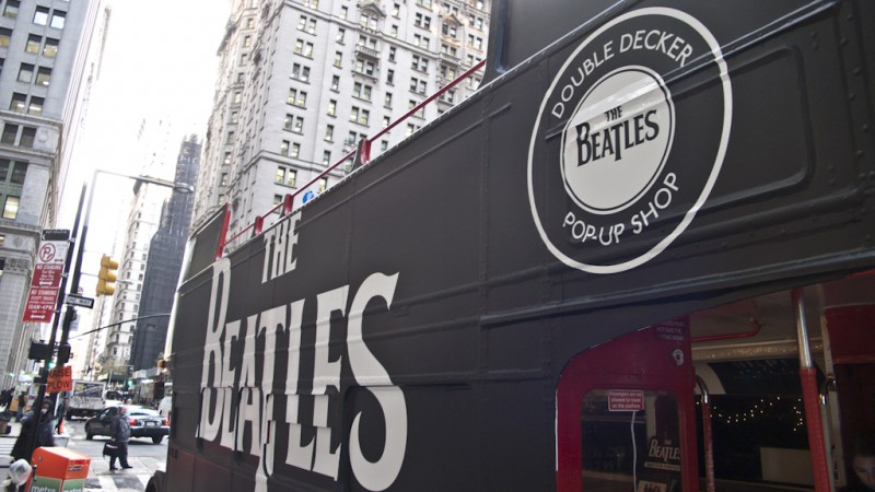 The Beatles double-decker pop up shop in New York City